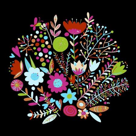 Floral frame, sketch for your design vector illustration. Illustration