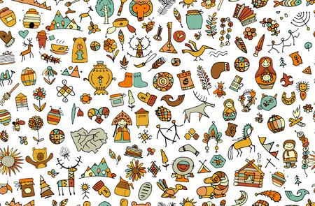 Ethnic design elements sketch vector illustration. Vetores