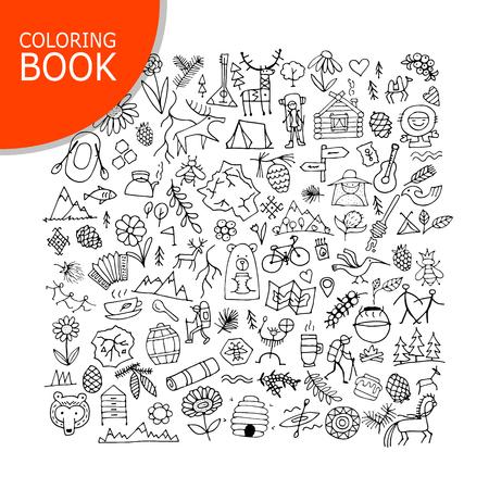 Mountain tourism set, sketch for your design vector illustration. Illustration