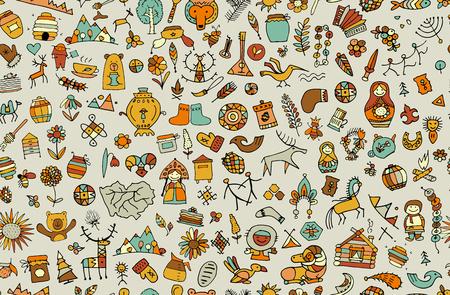 Ethnic design elements sketch vector illustration. Ilustração