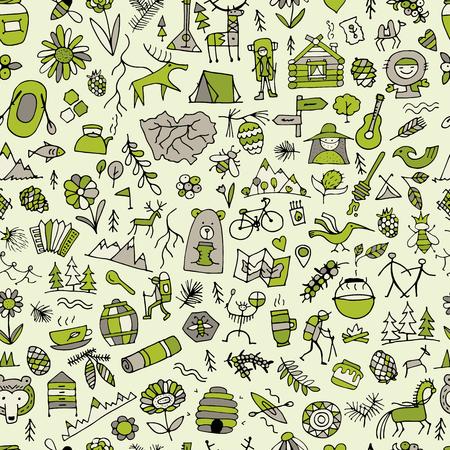 Mountain tourism set, seamless pattern for your design Illustration