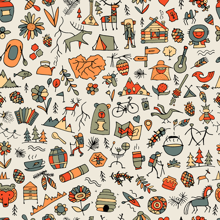 Mountain tourism set, seamless pattern for your design vector illustration.