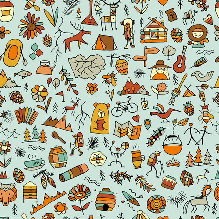 Mountain tourism set, seamless pattern for your design 일러스트