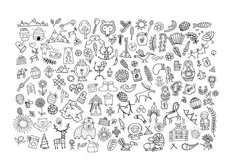 Ethnic design elements sketch Illustration