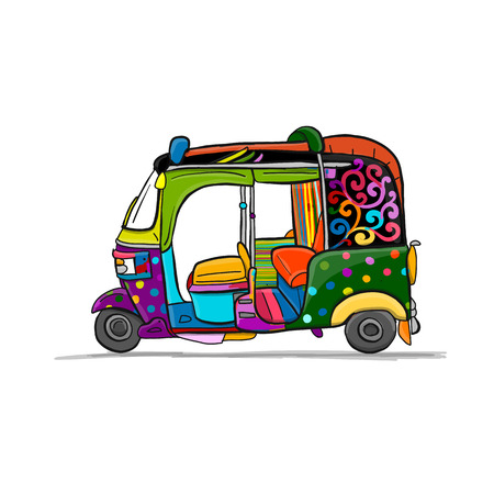 Tuktuk, motorbike Asian taxi. Sketch for your design vector illustration.