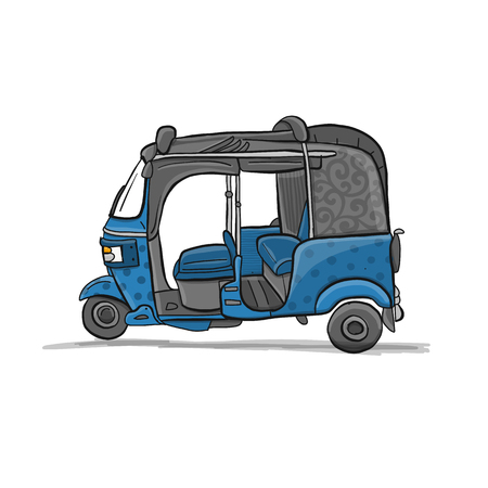 Tuktuk, motorbike Asian taxi, sketch for your design. Illustration