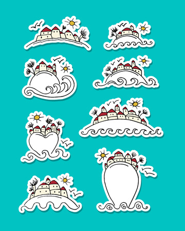 Tropical island with houses, sticker set for your design vector illustration.