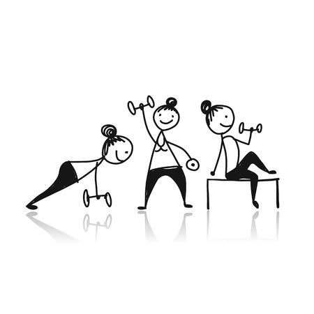 Girls doing sport exercises, sketch for your design.