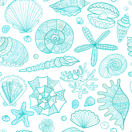 Marine seamless pattern, ornate seashells for your design. Reklamní fotografie - 99695902