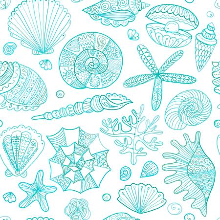 Marine seamless pattern, ornate seashells for your design. Illustration
