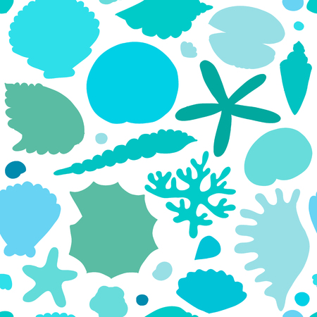 Marine seamless pattern, ornate seashells for your design. 向量圖像