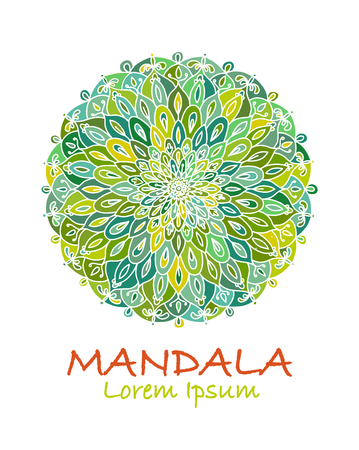 Mandala ornament, green pattern for your design. Vector illustration