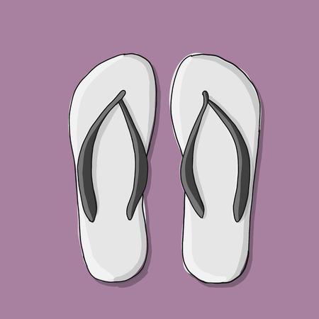 Beach sandals mockup, sketch for your design. Vector illustration Illustration