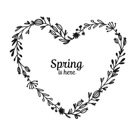 Floral frame, heart shape for your design. Vector illustration