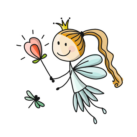 Cute little fairy, sketch for your design. Vector illustration