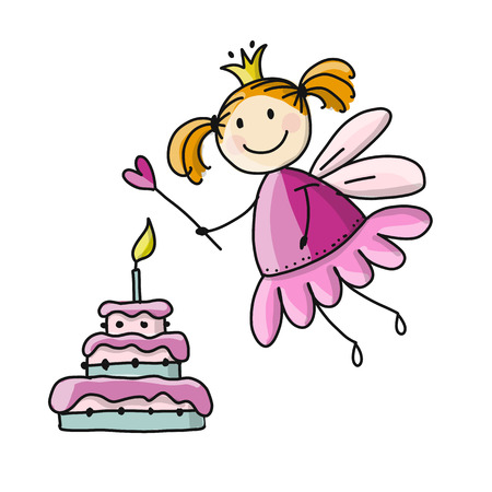 Cute little fairy with cake, sketch for your design. Vector illustration