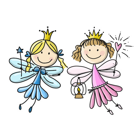 Cute little fairies, sketch for your design. Vector illustration