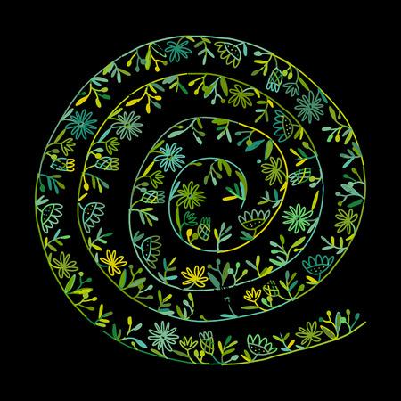 Floral spiral background