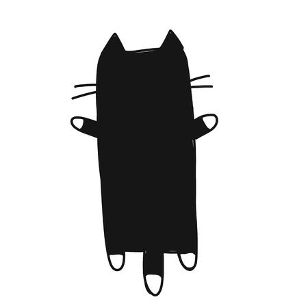 かわいい猫のシルエット、あなたのデザインのためのスケッチ。