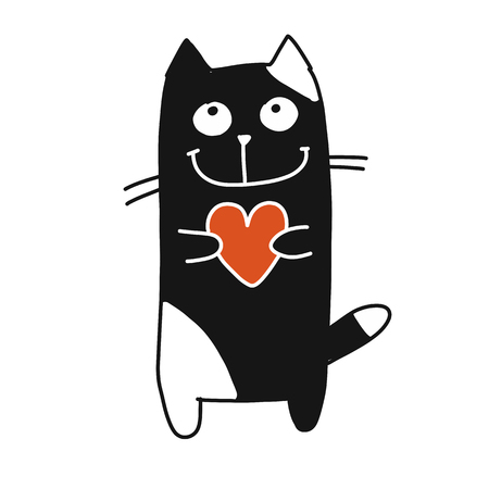 Funny cat with heart, sketch for your design