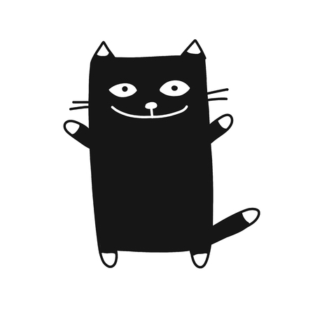 Cute cat silhouette, sketch for your design. Vector illustration
