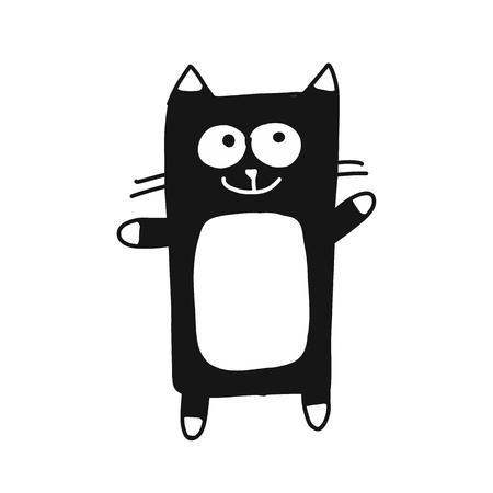 かわいい猫のシルエット、あなたのデザインのためのスケッチ。ベクトル図