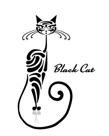 Disegno gatto nero. Arte di illustrazione vettoriale Archivio Fotografico - 99892791