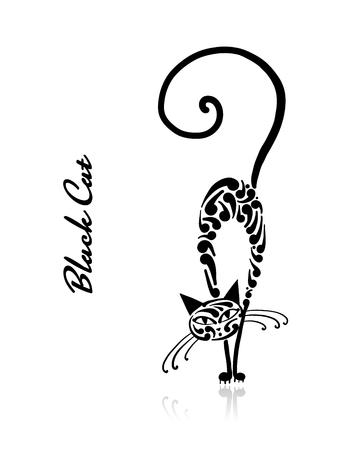 Black cat design. Vector illustration art Vettoriali