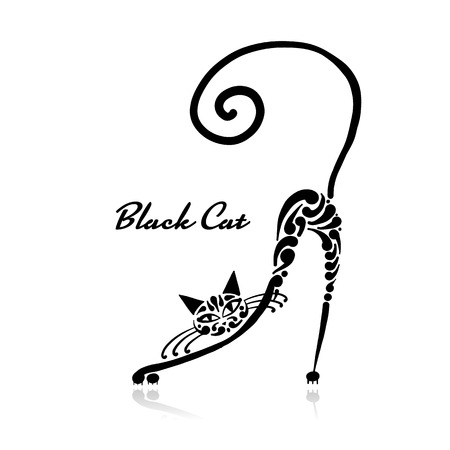 Black cat design. Vector illustration art Stock Illustratie