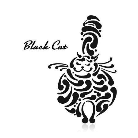Big graceful cat. Vector illustration art Stock Illustratie