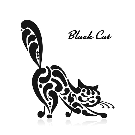 Big graceful cat. Vector illustration art Stock Illustratie