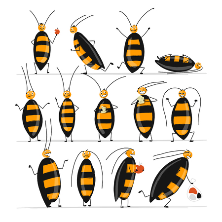 Funny cockroaches set for your design. Vector illustration Фото со стока - 99892816
