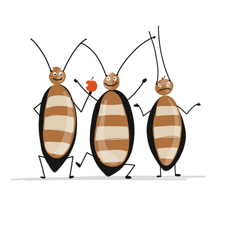 Funny cockroaches for your design. Vector illustration Фото со стока - 99892855