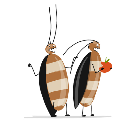 Funny cockroaches for your design. Vector illustration