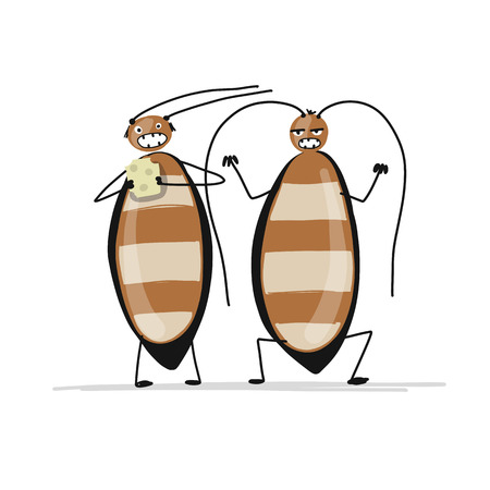 Funny cockroaches for your design. Vector illustration Фото со стока - 99893036