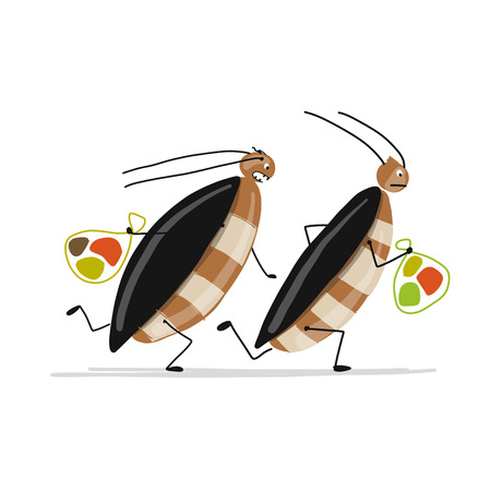 Funny cockroaches for your design. Vector illustration Фото со стока - 99893037