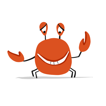 Funny crab, sketch for your design. Vector illustration