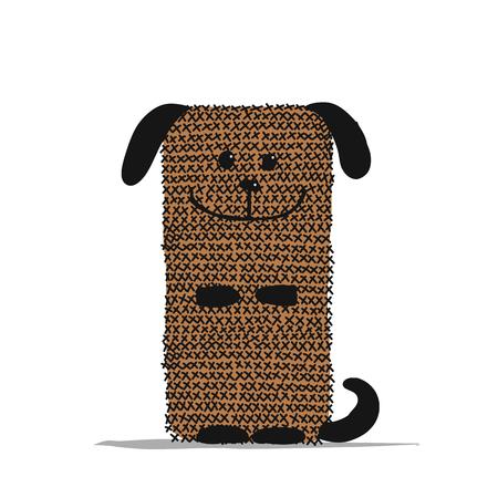 Funny dog knitting, sketch for your design 向量圖像