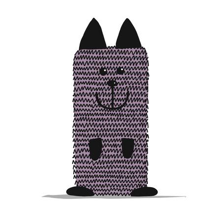 Funny dog knitting, sketch for your design Ilustração