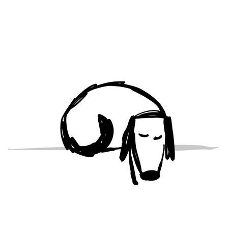 Cute sliping dog, sketch for your design