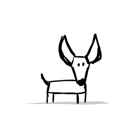 Funny small dog, sketch for your design