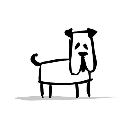 Funny bulldog, sketch for your design Çizim