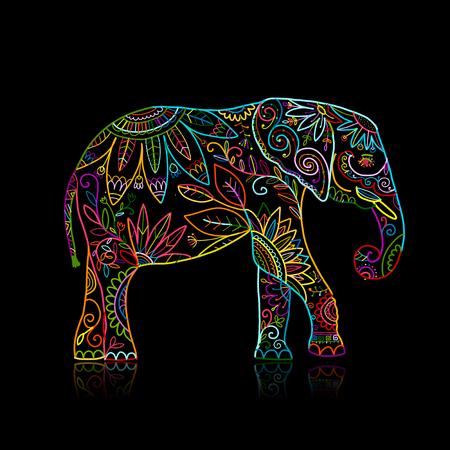 Elephant ornate, sketch for your design. Vector illustration Foto de archivo - 99893871