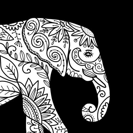 Elephant ornate, sketch for your design. Vector illustration