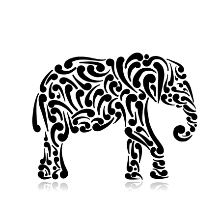 Elephant ornate, sketch for your design. Vector illustration