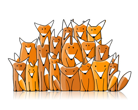 Foxes big family, sketch for your design. Vector illustration