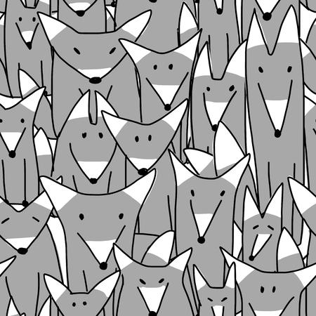 Wolves family, seamless pattern for your design. Vector illustration