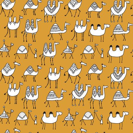 Camels caravan pattern. 일러스트
