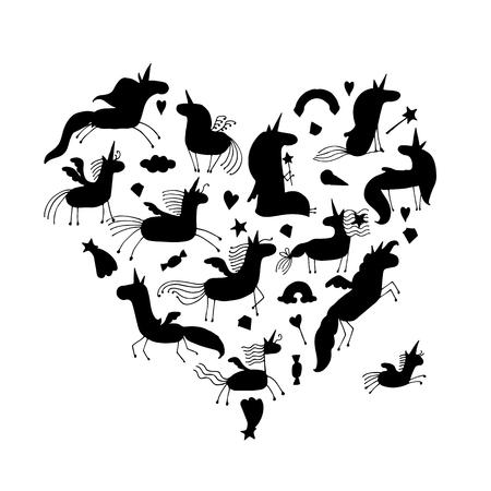Magic unicorns collection in black silhouette. Illustration