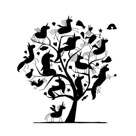 Magic unicorns tree sketch.
